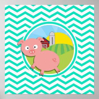 Pig Aqua Green Chevron Posters
