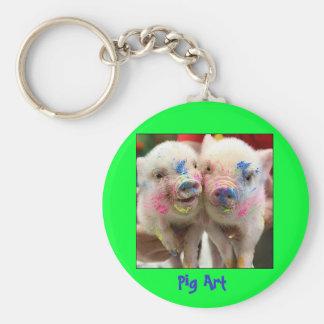 Pig Art Basic Round Button Key Ring
