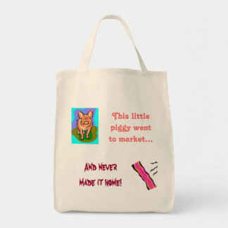 pig/bacon humor shopping tote grocery tote bag