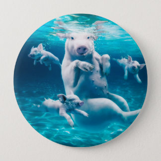 Pig beach - swimming pigs - funny pig 10 cm round badge