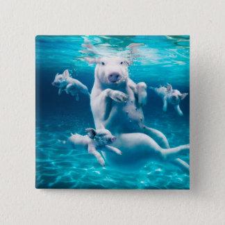 Pig beach - swimming pigs - funny pig 15 cm square badge