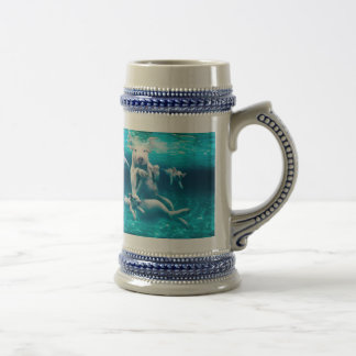 Pig beach - swimming pigs - funny pig beer stein