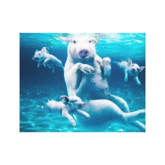 Pig beach - swimming pigs - funny pig canvas print