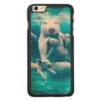 Pig beach - swimming pigs - funny pig carved maple iPhone 6 plus case