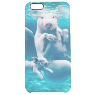 Pig beach - swimming pigs - funny pig clear iPhone 6 plus case