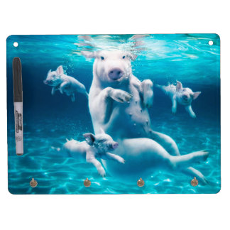 Pig beach - swimming pigs - funny pig dry erase board with key ring holder