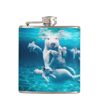 Pig beach - swimming pigs - funny pig hip flask