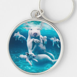 Pig beach - swimming pigs - funny pig key ring