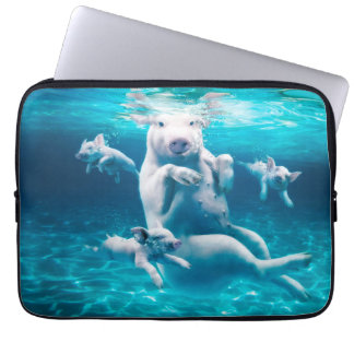 Pig beach - swimming pigs - funny pig laptop sleeve