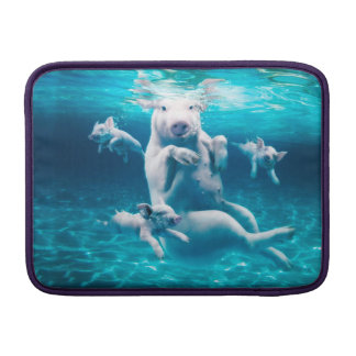 Pig beach - swimming pigs - funny pig MacBook sleeve