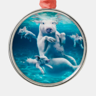 Pig beach - swimming pigs - funny pig metal ornament