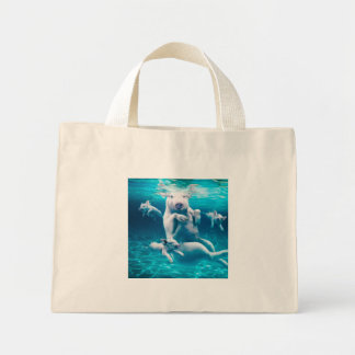 Pig beach - swimming pigs - funny pig mini tote bag
