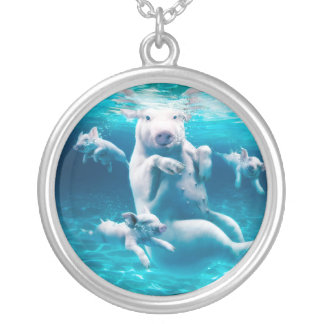 Pig beach - swimming pigs - funny pig silver plated necklace