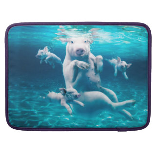 Pig beach - swimming pigs - funny pig sleeve for MacBook pro
