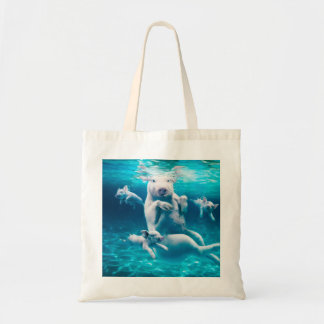Pig beach - swimming pigs - funny pig tote bag