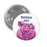 Pig Birthday Girl Party Centre Buttons