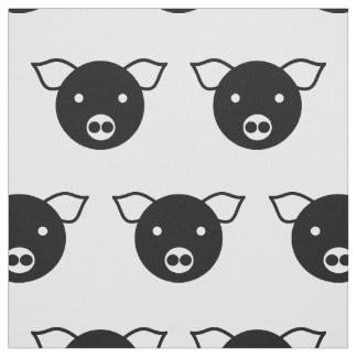 PIG BLACK AND WHITE PATTERN Pima Cotton Fabric