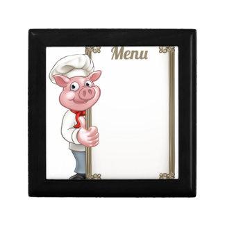 Pig Cartoon Character Chef Menu Gift Box
