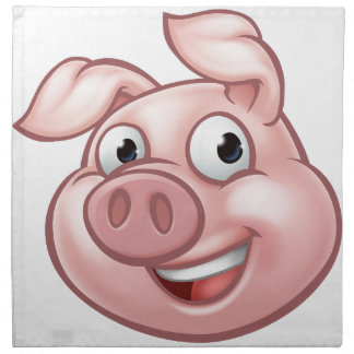 Pig Cartoon Character Mascot Napkin