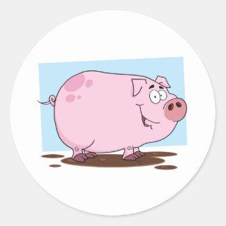 Pig Cartoon Character Round Sticker
