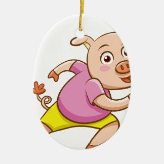 pig ceramic ornament