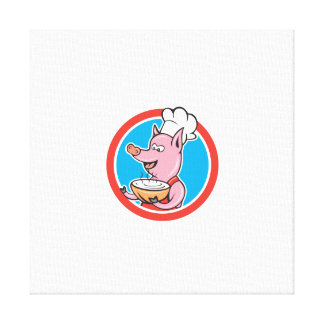 Pig Chef Cook Holding Bowl Circle Cartoon Canvas Prints