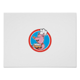 Pig Chef Cook Holding Bowl Circle Cartoon Poster