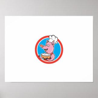 Pig Chef Cook Holding Bowl Circle Cartoon Poster