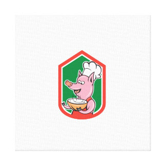 Pig Chef Cook Holding Bowl Shield Cartoon Stretched Canvas Prints