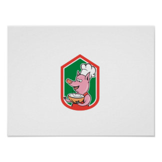Pig Chef Cook Holding Bowl Shield Cartoon Poster