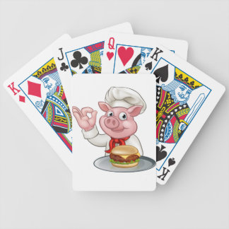 Pig Chef Holding Burger Bicycle Playing Cards