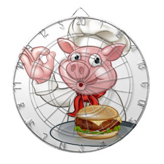 Pig Chef Holding Burger Dartboard