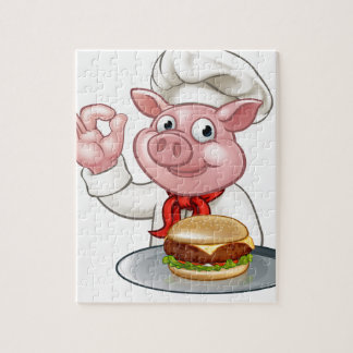 Pig Chef Holding Burger Jigsaw Puzzle