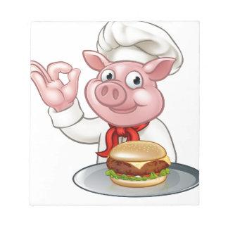 Pig Chef Holding Burger Notepad