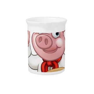 Pig Chef Holding Burger Pitcher
