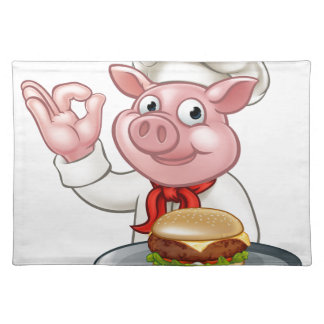 Pig Chef Holding Burger Placemat
