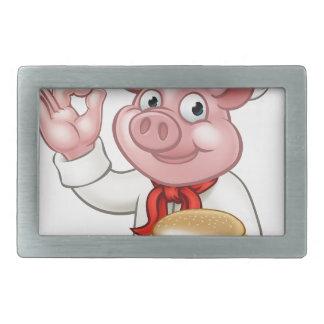 Pig Chef Holding Burger Rectangular Belt Buckle