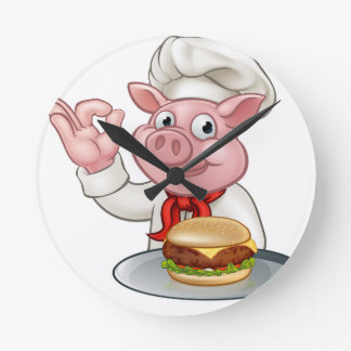 Pig Chef Holding Burger Round Clock