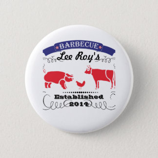 Pig, Chicken and Cow Vintage Barbeque 6 Cm Round Badge
