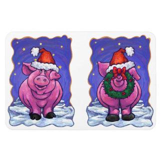 Pig Christmas Rectangular Photo Magnet
