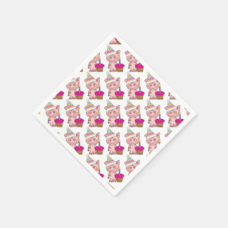Pig & Cupcake Party Supplies Disposable Napkin