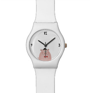 Pig Cute Funny Elegant Gentleman Pure White Cool Watch