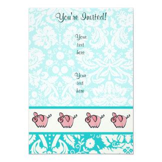 Pig; Cute 13 Cm X 18 Cm Invitation Card