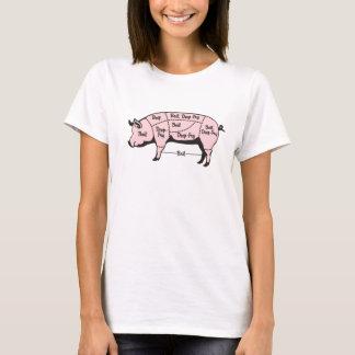 Pig Diagram: Boil & Deep-Fry - PINK T-Shirt
