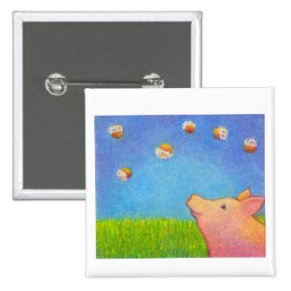 Pig dreams of cupcakes adorable crayon art 15 cm square badge