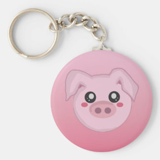 Pig Face Basic Round Button Key Ring