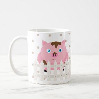 Pig Fence Farm Animal Dot Morning Sunshine Mug