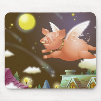 Pig flying in the sky mouse pad