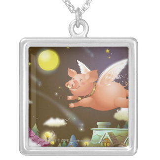 Pig flying in the sky silver plated necklace