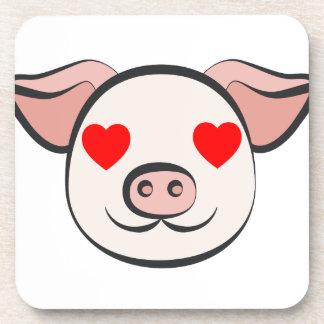 Pig Heart Emoji Coaster